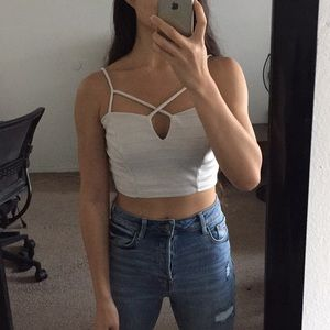 White crop top with unique caged design size small